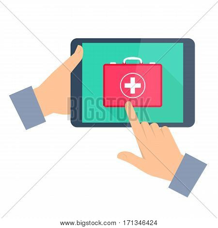 Man gets first aid by internet. Telemedicine and telehealth flat concept illustration. One hand holding tablet computer another touching a red first aid box icon on a display. Vector tele medicine.