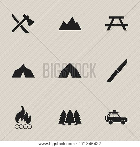 Set Of 9 Editable Travel Icons. Includes Symbols Such As Desk, Blaze, Tomahawk And More. Can Be Used For Web, Mobile, UI And Infographic Design.