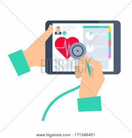 Doctor using a stethoscope on a tablet computer. Telemedicine and telehealth flat vector concept illustration. Hand stethoscope tablet heart. For tele and remote medicine and health infographic.