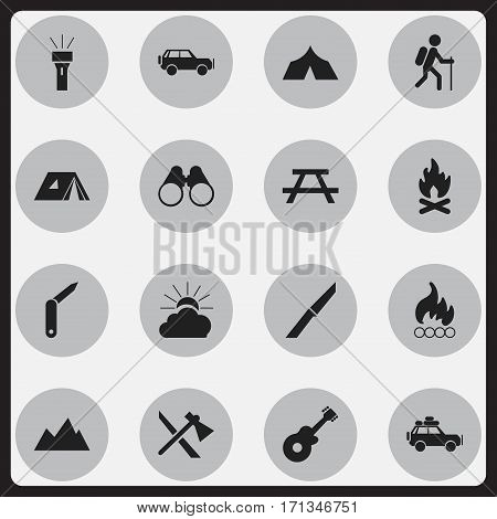 Set Of 16 Editable Camping Icons. Includes Symbols Such As Clasp-Knife, Gait, Voyage Car And More. Can Be Used For Web, Mobile, UI And Infographic Design.