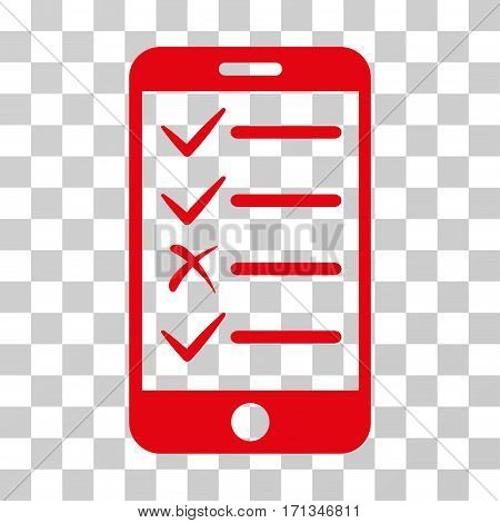 Mobile Tasks icon. Vector illustration style is flat iconic symbol red color transparent background. Designed for web and software interfaces.
