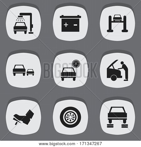 Set Of 9 Editable Transport Icons. Includes Symbols Such As Auto Service, Treadle, Race And More. Can Be Used For Web, Mobile, UI And Infographic Design.