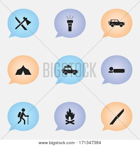 Set Of 9 Editable Travel Icons. Includes Symbols Such As Sport Vehicle, Voyage Car, Refuge And More. Can Be Used For Web, Mobile, UI And Infographic Design.