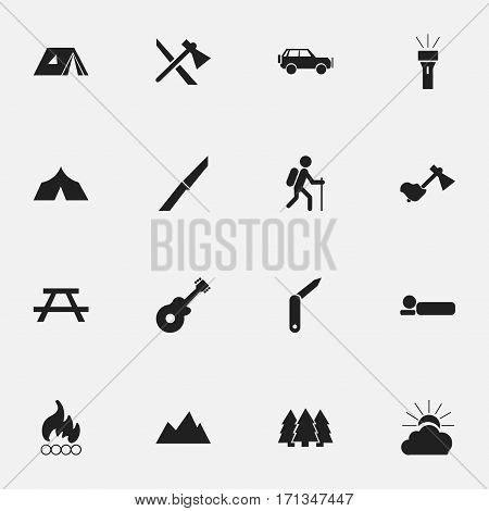 Set Of 16 Editable Trip Icons. Includes Symbols Such As Desk, Refuge, Pine And More. Can Be Used For Web, Mobile, UI And Infographic Design.