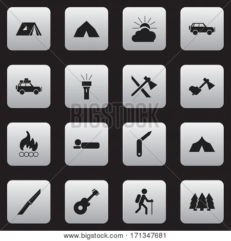 Set Of 16 Editable Travel Icons. Includes Symbols Such As Musical Instrument, Pine, Voyage Car And More. Can Be Used For Web, Mobile, UI And Infographic Design.