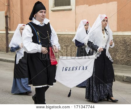 CAGLIARI, ITALY - May 1, 2013: 357 Religious Procession of Sant'Efisio - Sardinia - parade of the folk group of Iglesias