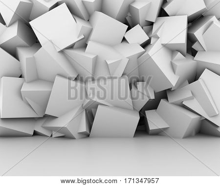 Abstract white cubes wall interior background. 3D rendering.