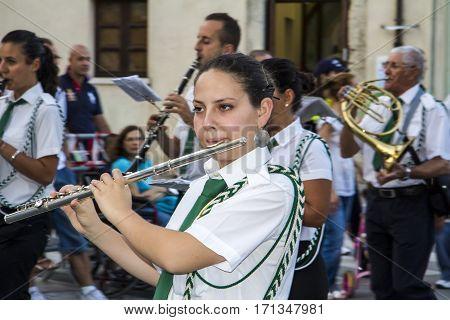 QUARTU S.E., ITALY - July 14, 2012: International Folklore Festival - 26 Sciampitta - Sardinia - music band musician