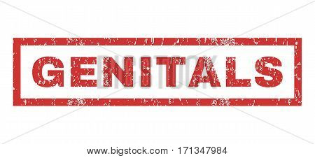 Genitals text rubber seal stamp watermark. Caption inside rectangular shape with grunge design and dirty texture. Horizontal vector red ink sticker on a white background.