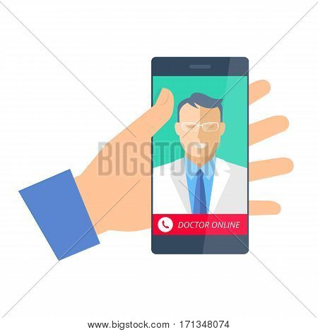 Hand holding a phone with doctor online. Telemedicine and telehealth flat concept illustration. Hand smartphone with medic on the display. Vector element for tele medical and heaith infographic.