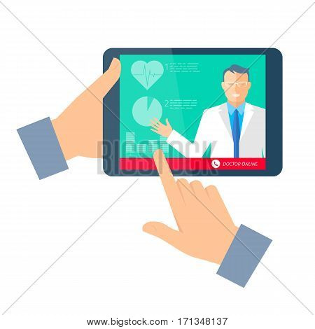 Hand holding a tablet computer with doctor online. Telemedicine and telehealth flat concept illustration. Medic giving medical tele consultation. Vector element for tele medical and heaith infographic