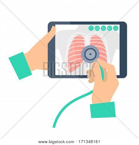 Doctor with stethoscope holding a tablet computer with lung radiography. Telemedicine telehealth flat concept illustration. Medic's hands chest x-ray image on a screen phonendoscope. Vector element