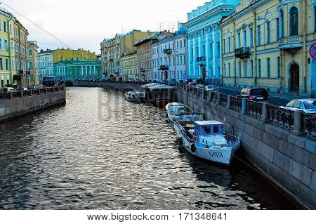 Saint-Petersburg, Russia - May 14, 2006: Griboedov channel with boats in spring