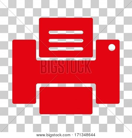 Printer icon. Vector illustration style is flat iconic symbol red color transparent background. Designed for web and software interfaces.