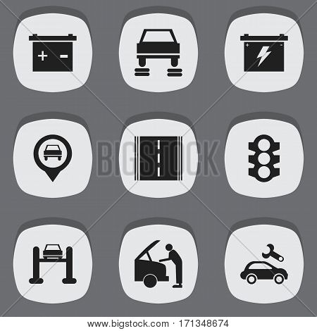 Set Of 9 Editable Vehicle Icons. Includes Symbols Such As Stoplight, Accumulator, Highway And More. Can Be Used For Web, Mobile, UI And Infographic Design.
