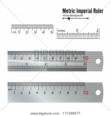 Metric Imperial Rulers Vector. Centimeter And Inch. Measure Tools Equipment Isolated On White Background.