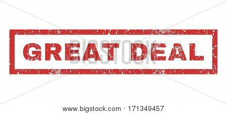 Great Deal text rubber seal stamp watermark. Caption inside rectangular shape with grunge design and scratched texture. Horizontal vector red ink sign on a white background.