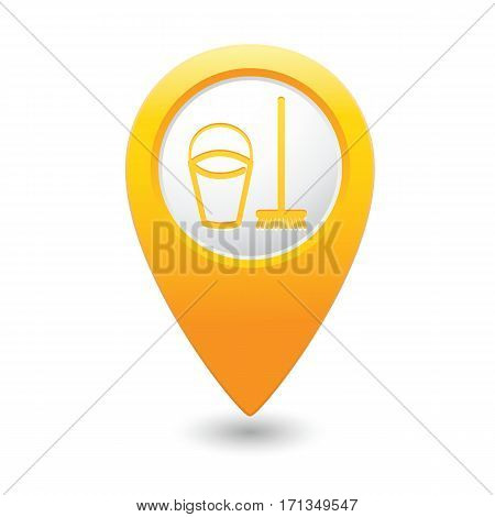 Yellow map pointer with bucket and mop for cleaning icon. Vector illustration isolated on white background