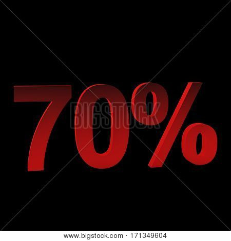 70 percent off, 3d rendering. Isolated on black