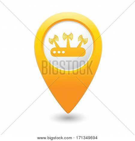 Yellow map pointer with router icon. Vector illustration