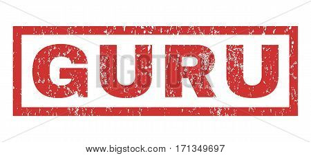 Guru text rubber seal stamp watermark. Tag inside rectangular shape with grunge design and dirty texture. Horizontal vector red ink sign on a white background.