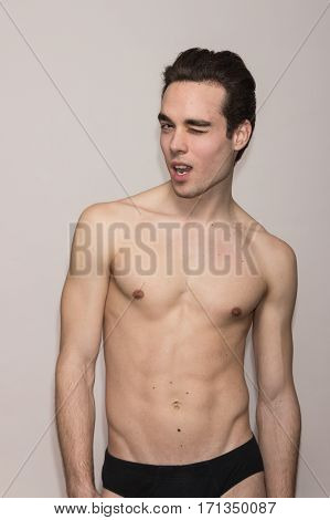 Young Man Shirtless Body Slim Fit Winking