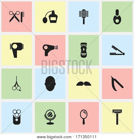 Set Of 16 Editable Barber Icons. Includes Symbols Such As Blade, Cut Tool, Peeper And More. Can Be Used For Web, Mobile, UI And Infographic Design.