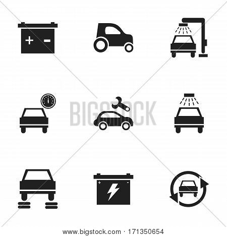 Set Of 9 Editable Traffic Icons. Includes Symbols Such As Vehicle Wash, Tuning Auto, Car Lave And More. Can Be Used For Web, Mobile, UI And Infographic Design.