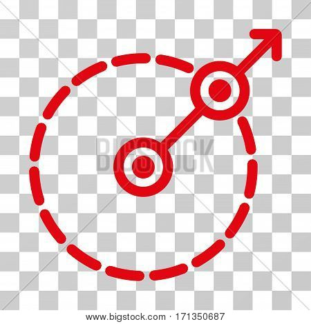 Round Area Exit icon. Vector illustration style is flat iconic symbol red color transparent background. Designed for web and software interfaces.