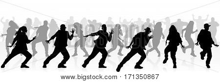 Vector illustration of a many teenagers dancing
