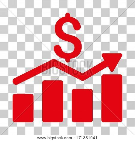 Sales Chart icon. Vector illustration style is flat iconic symbol red color transparent background. Designed for web and software interfaces.