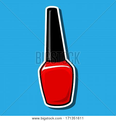 Nail polish bottle isolated on blue. Red color. Glass shiny closed container. Single element for manicure, make up. White outline path. Vector cartoon  illustration, icon, sticker bombing, patch badge