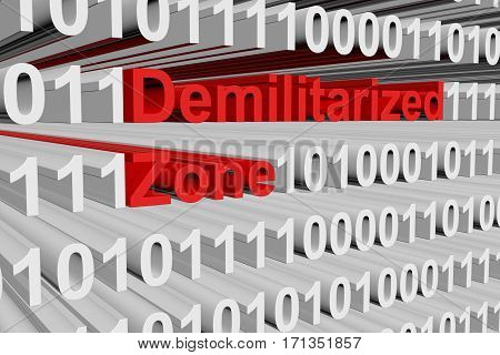 demilitarized zone in the form of binary code, 3D illustration