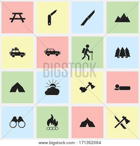 Set Of 16 Editable Trip Icons. Includes Symbols Such As Gait, Peak, Sport Vehicle And More. Can Be Used For Web, Mobile, UI And Infographic Design.