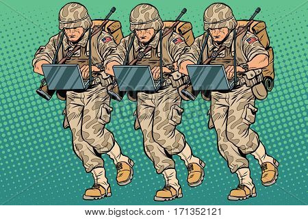 Squad modern cyber soldier. Vintage pop art retro comic book vector illustration. Military hackers
