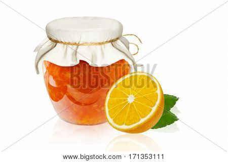 Lemon Jam marmalade in glass dish isolated on a white background. Clipping path
