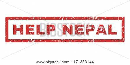 Help Nepal text rubber seal stamp watermark. Caption inside rectangular shape with grunge design and dirty texture. Horizontal vector red ink sign on a white background.