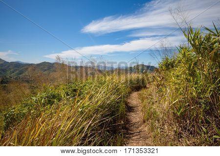 Mountain pathway for treking in Kanchanaburi, Thailand