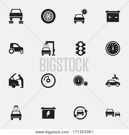 Set Of 16 Editable Car Icons. Includes Symbols Such As Vehicle Car, Vehicle Wash, Speed Display And More. Can Be Used For Web, Mobile, UI And Infographic Design.