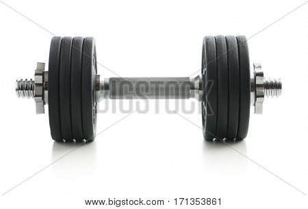 Black metal dumbbell isolated on white background.
