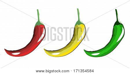burning red yellow and green peppers on white background