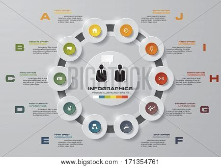 Abstract 10 steps/Timelines infographis elements.Vector illustration. EPS10.