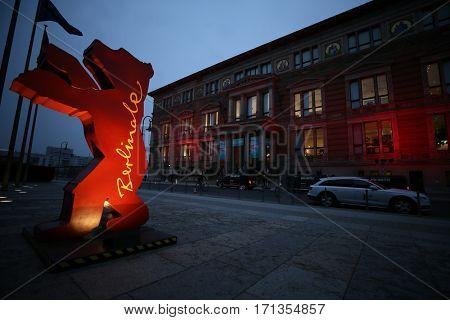 BERLIN, GERMANY - FEBRUARY 11: A Berlinale bear figure is seen as people attend the 67th Berlinale International Film Festival at European Film Market  in Berlin, Germany on February 11, 2017