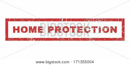 Home Protection text rubber seal stamp watermark. Tag inside rectangular banner with grunge design and unclean texture. Horizontal vector red ink emblem on a white background.