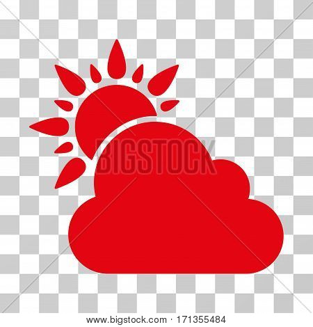 Weather icon. Vector illustration style is flat iconic symbol red color transparent background. Designed for web and software interfaces.