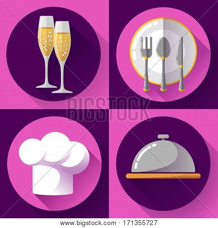 Restaurant icons set flat style Cooking and kitchen, serving food
