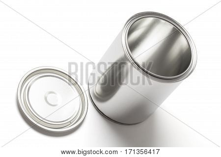 New blank and empty tin paint can with an open lid isolated on white background with clipping path.