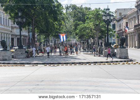 La Havana Cuba - December 25 2016: Paseo de el Prado one of the most touristic places in La Havana