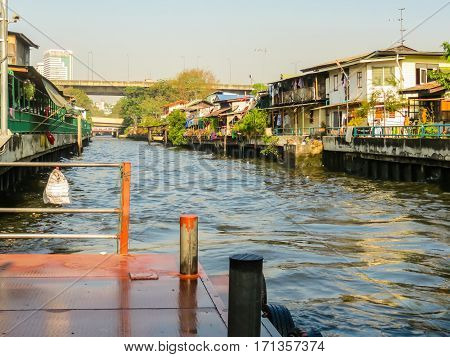 Small channel called khlong is used in Bangkok as a transport way. Bangkok, Thailand