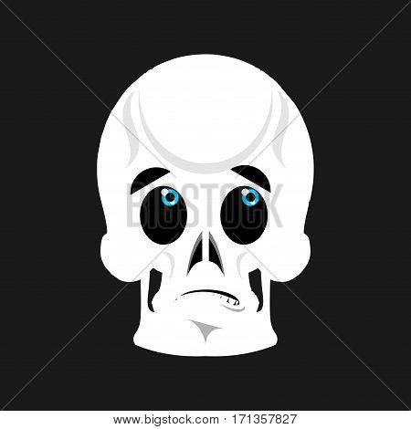 Skull Surprised Emoji. Skeleton Head Astonished Emotion Isolated